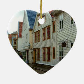 Norway, Bergen, wooden houses and cobbles Ceramic Ornament