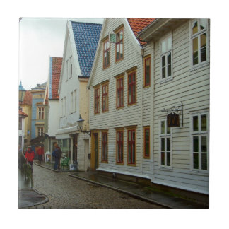 Norway, Bergen, wooden houses and cobbles Ceramic Tile