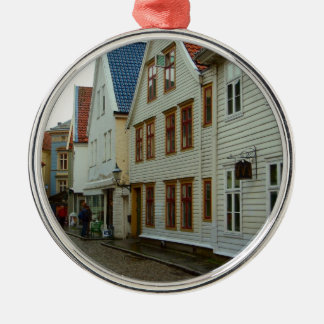 Norway, Bergen, wooden houses and cobbles Metal Ornament