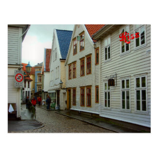 Norway Bergen wooden houses and cobbles Post Card