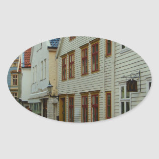Norway, Bergen, wooden houses and cobbles Oval Stickers