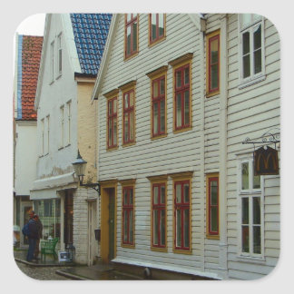Norway, Bergen, wooden houses and cobbles Square Sticker