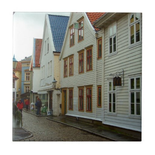 Norway bergen wooden houses and cobbles ceramic tiles for Norway wooden houses