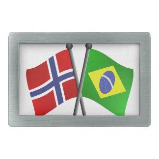 Norway Brazil Friendship Flags Belt Buckle
