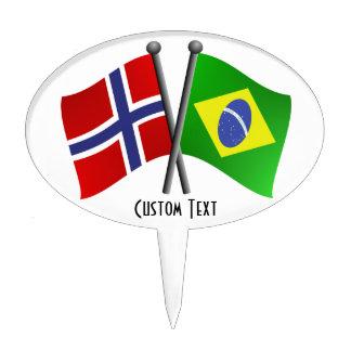 Norway Brazil Friendship Flags Cake Topper