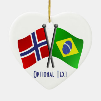 Norway Brazil Friendship Flags Ceramic Ornament