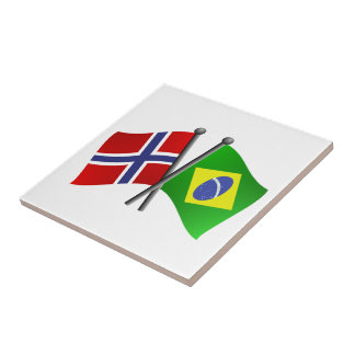 Norway Brazil Friendship Flags Ceramic Tile