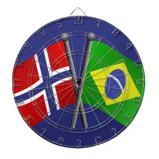 Norway Brazil Friendship Flags Dartboard With Darts