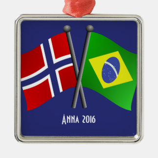 Norway Brazil Friendship Flags Metal Ornament