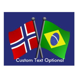 Norway Brazil Friendship Flags Postcard