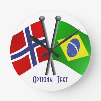 Norway Brazil Friendship Flags Round Clock