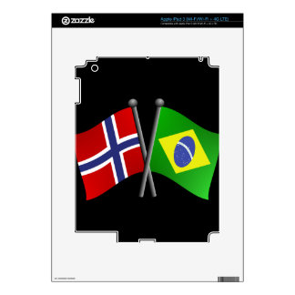 Norway Brazil Friendship Flags Decals For iPad 3