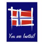 Norway Brush Flag 4.25x5.5 Paper Invitation Card