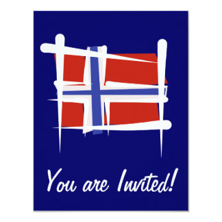 Norway Brush Flag 4.25x5.5 Paper Invitation Card