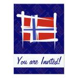 Norway Brush Flag 5x7 Paper Invitation Card