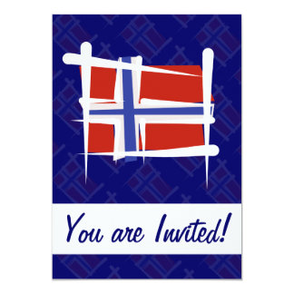Norway Brush Flag 5x7 Paper Invitation Card