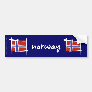 Norway Brush Flag Bumper Sticker