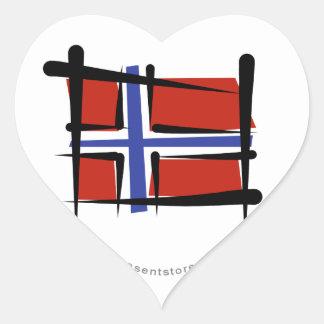 Norway Brush Flag Heart Sticker