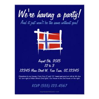 Norway Brush Flag Custom Invites