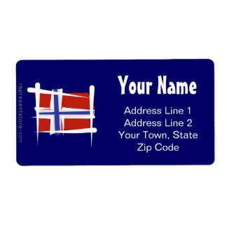 Norway Brush Flag Label