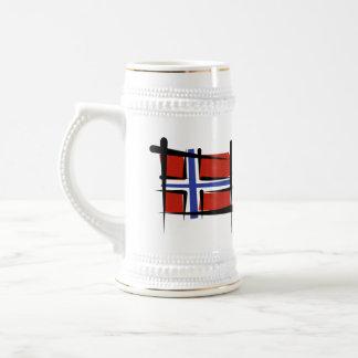 Norway Brush Flag 18 Oz Beer Stein