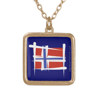 Norway Brush Flag Square Pendant Necklace