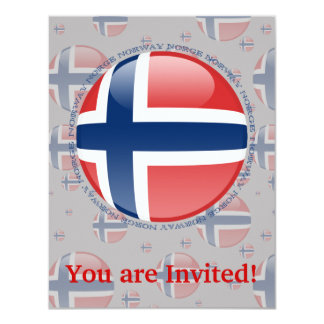 Norway Bubble Flag 4.25x5.5 Paper Invitation Card