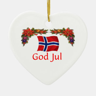Norway Christmas Double-Sided Heart Ceramic Christmas Ornament