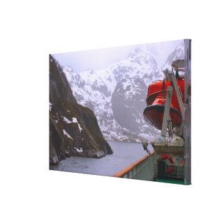 Norway Cruise ship entering a fjord Canvas Print