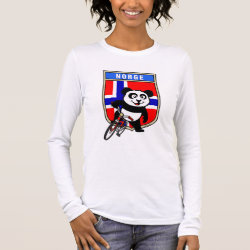 Women's Basic Long Sleeve T-Shirt with Norwegian Cycling Panda design