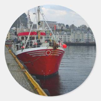 Norway, Deep water fishing vessel in port Round Stickers
