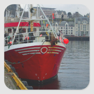 Norway, Deep water fishing vessel in port Square Stickers