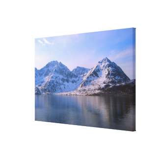Norway Entering a fjord snowy mountains Canvas Prints