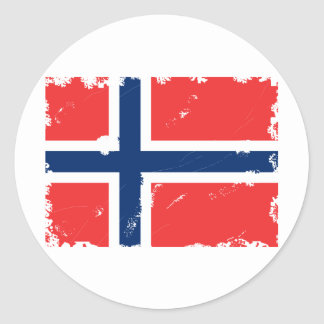 NORWAY FLAG DISTRESSED ROUND STICKERS