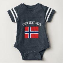 Norway flag football sports jersey baby bodysuit