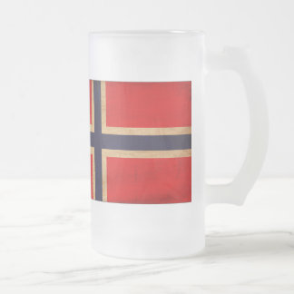 Norway Flag Frosted Glass Beer Mug