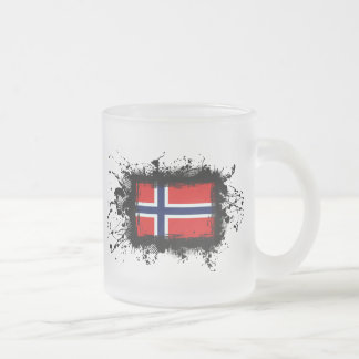Norway Flag Frosted Glass Coffee Mug