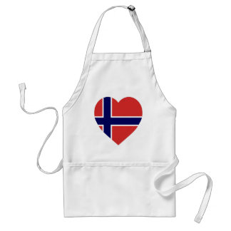 Norway Flag Heart Adult Apron