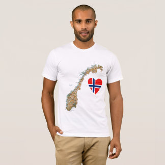 Norway Flag Heart and Map T-Shirt