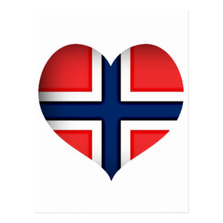 Norway Flag Heart Post Card