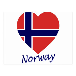Norway Flag Heart Post Cards