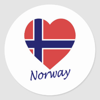 Norway Flag Heart Stickers