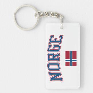 Norway + Flag Double-Sided Rectangular Acrylic Keychain