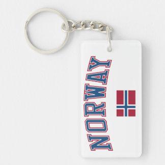 Norway + Flag Single-Sided Rectangular Acrylic Keychain