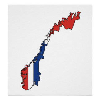 Norway Flag Map full size Poster