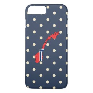 norway Flag Map on Polka Dots iPhone 8 Plus/7 Plus Case