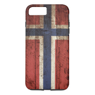 Norway Flag on Old Wood Grain iPhone 7 Plus Case