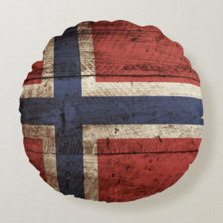 Norway Flag on Old Wood Grain Round Pillow