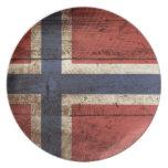 Norway Flag on Old Wood Grain Plate