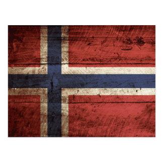 Norway Flag on Old Wood Grain Postcard
